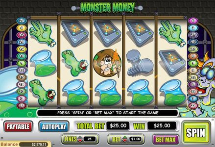 Miami Club featuring the Video Slots Monster Money with a maximum payout of $50,000