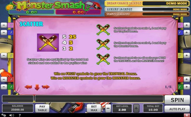 Intercasino featuring the Video Slots Monster Smash with a maximum payout of Jakpot