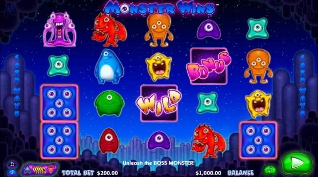 Astralbet featuring the Video Slots Monster Wins with a maximum payout of $10,000