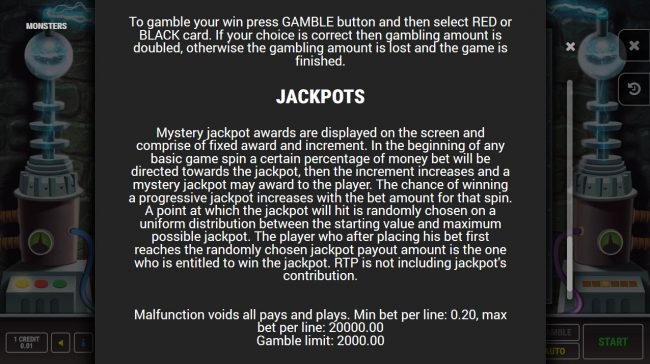 Monsters :: Jackpot Rules