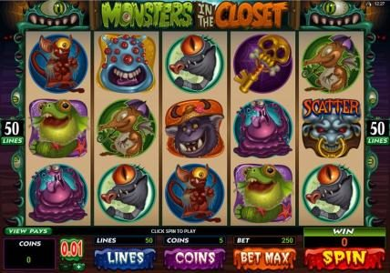 Casino Red Kings featuring the Video Slots Monsters in the Closet with a maximum payout of $4,000