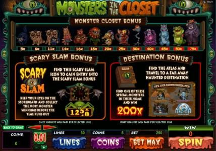 Dragonara featuring the Video Slots Monsters in the Closet with a maximum payout of $4,000