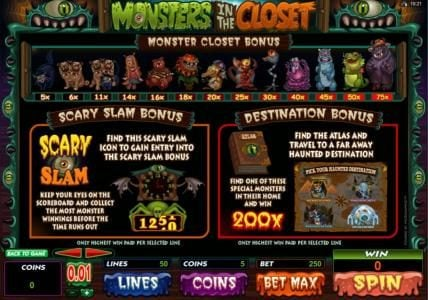 Rich Casino featuring the Video Slots Monsters in the Closet with a maximum payout of $4,000