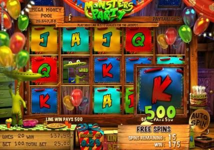 Solara featuring the Video Slots Monsters Party with a maximum payout of $12,500