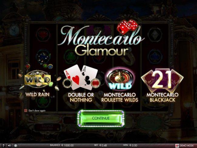 Play slots at Malina: Malina featuring the Video Slots Montecarlo Glamour with a maximum payout of $4,000