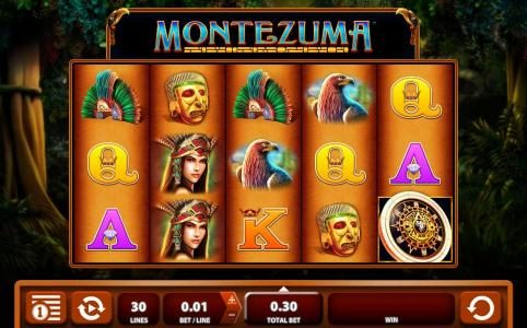 Montezuma :: Main game board featuring five reels and 30 paylines with a $600 max payout