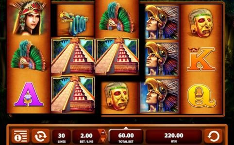 Montezuma :: Multiple winning paylines triggers a $220 big win!