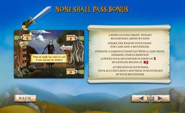 None Shall Pass Bonus Game Rules.
