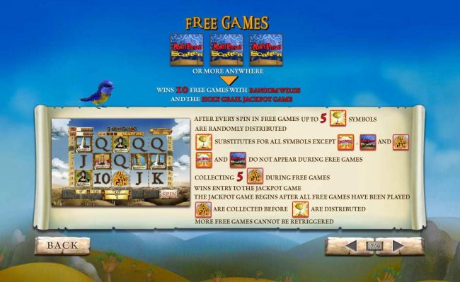Three or more Monty Python Scatter symbols anywhere in view awards 10 free games with random wilds and the Holy Grail Jackpot Game.