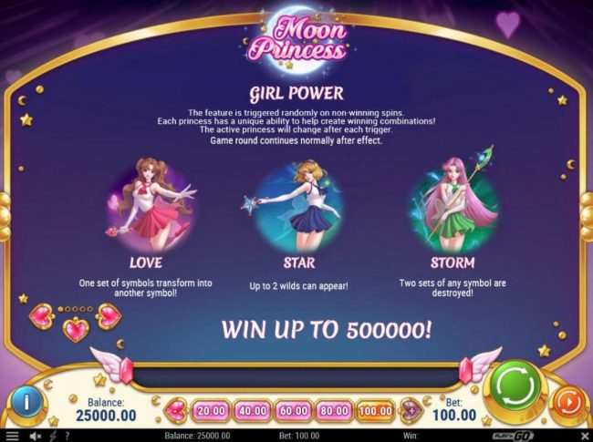 Jonny Jackpot featuring the Video Slots Moon Princess with a maximum payout of $500,000