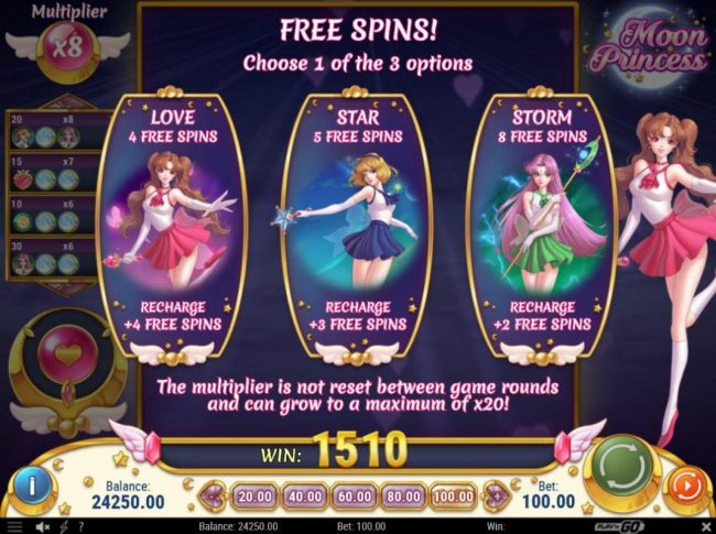 Omnia featuring the Video Slots Moon Princess with a maximum payout of $500,000