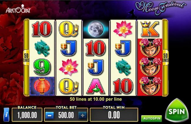 Cheeky Riches featuring the Video Slots Moon Festival with a maximum payout of $500,000