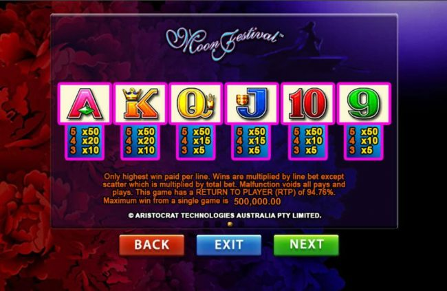 Mr Green featuring the Video Slots Moon Festival with a maximum payout of $500,000