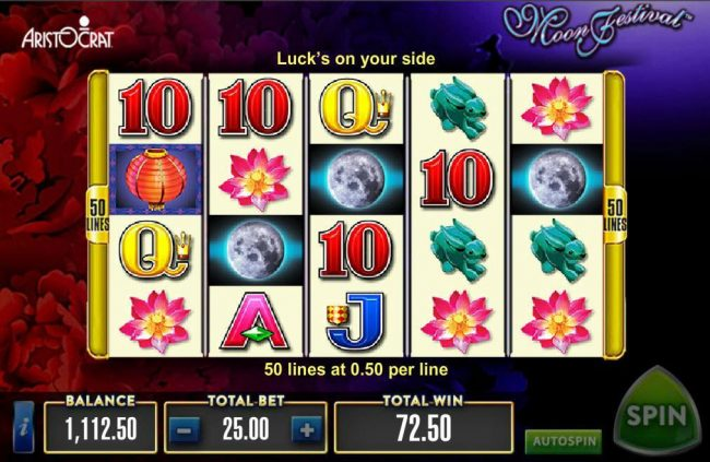 Spinrider featuring the Video Slots Moon Festival with a maximum payout of $500,000