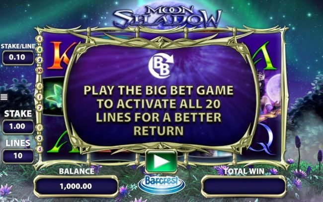 Powerspins featuring the Video Slots Moon Shadow with a maximum payout of $250,000