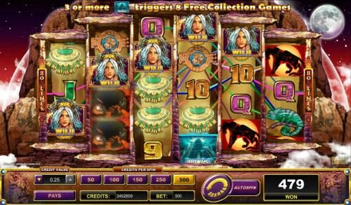 multiple winning paylines triggered by Druidess wild symbols
