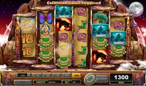 Three scattered bonus symbols triggers bonus feature.