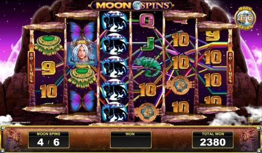 Panther wild symbols combine for a big win during the moon spins feature