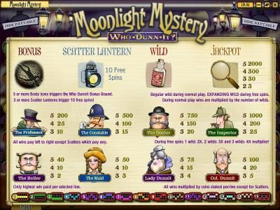 Mayan Fortune featuring the Video Slots Moonlight Mystery with a maximum payout of $10,000