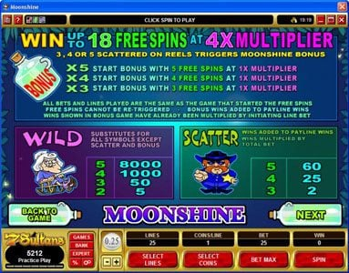 Bet At Casino featuring the Video Slots Moonshine with a maximum payout of $200,000