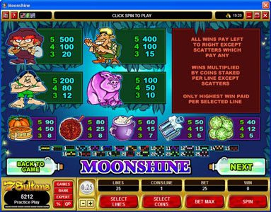 Spinrider featuring the Video Slots Moonshine with a maximum payout of $200,000