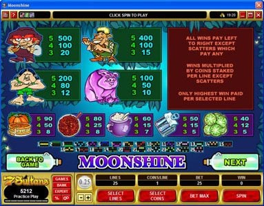 Grand Mondial featuring the Video Slots Moonshine with a maximum payout of $200,000