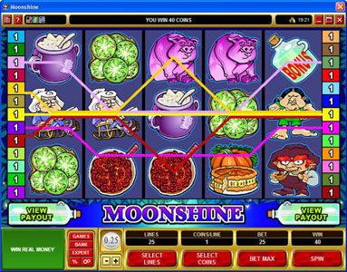 Buran featuring the Video Slots Moonshine with a maximum payout of $200,000