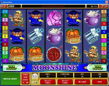 Royal Vegas featuring the Video Slots Moonshine with a maximum payout of $200,000