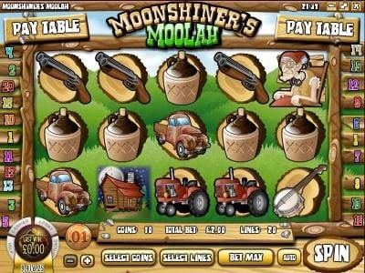 Play slots at Cafe: Cafe featuring the Video Slots Moonshiner's Moolah with a maximum payout of $2,500
