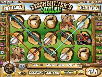Golden Lion featuring the Video Slots Moonshiner's Moolah with a maximum payout of $2,500