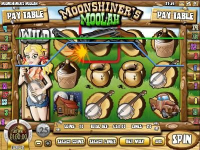 Winbig21 featuring the Video Slots Moonshiner's Moolah with a maximum payout of $2,500