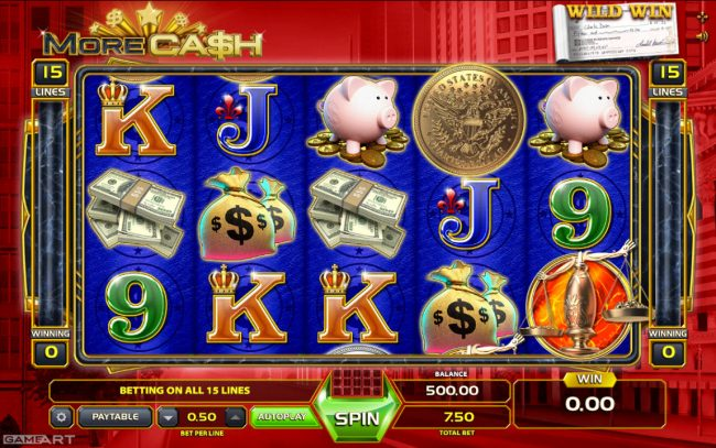 Play slots at Lapalingo: Lapalingo featuring the Video Slots More Cash with a maximum payout of $2,500