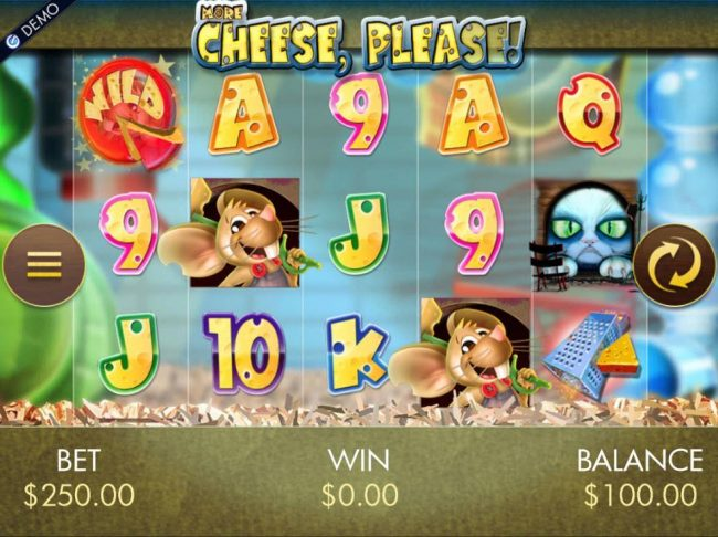 A cat and mouse themed main game board featuring five reels and 25 paylines with a $20,000 max payout