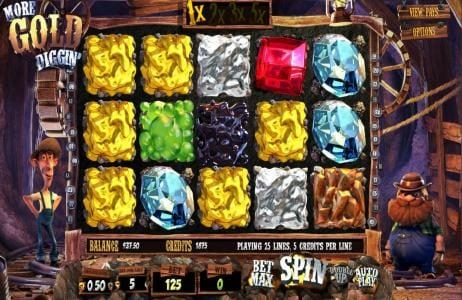 Rockbet featuring the Video Slots More Gold Diggin' with a maximum payout of $31,250