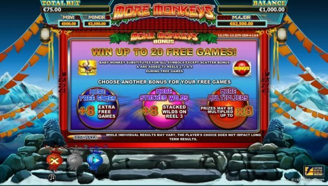 Boo Casino featuring the Video Slots More Monkeys with a maximum payout of Jackpot