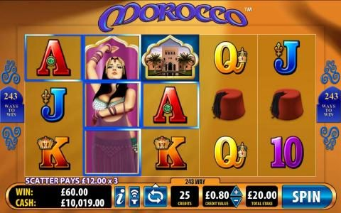 Morocco :: stacked wild symbol triggers a $60 jackpot