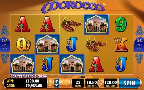 Morocco :: four scatter symbols triggers a $120 payout and 15 free spins