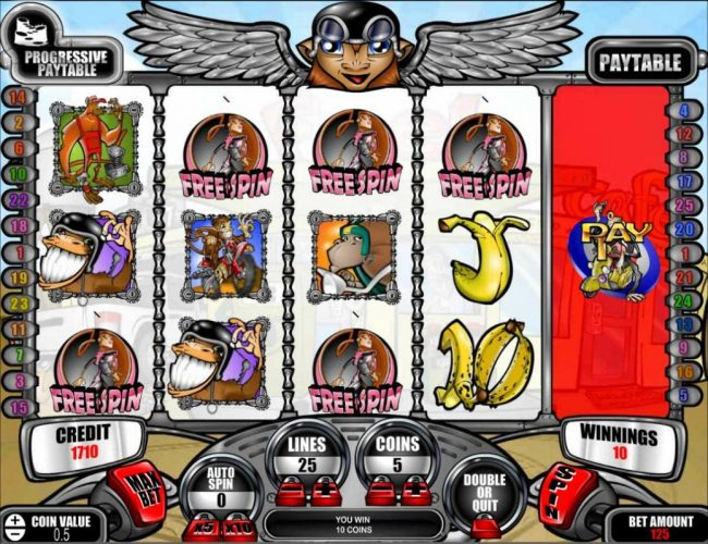 Tangiers featuring the Video Slots Motorbike Monkey with a maximum payout of Jackpot