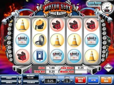 Win 7 featuring the Video Slots Motor Slot Speed Machine with a maximum payout of $50,000