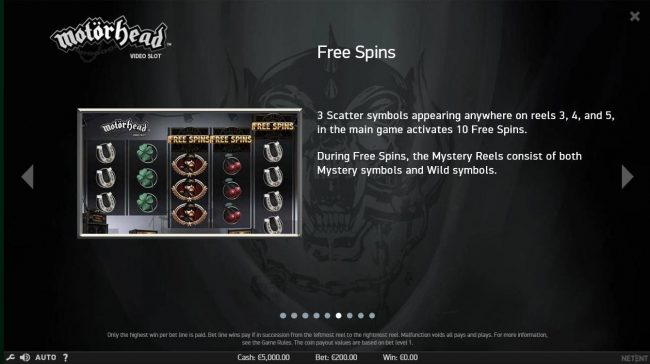 3 scatter symbols appearing anywhere on reels 3, 4 and 5, in the main game activates 10 free spins.