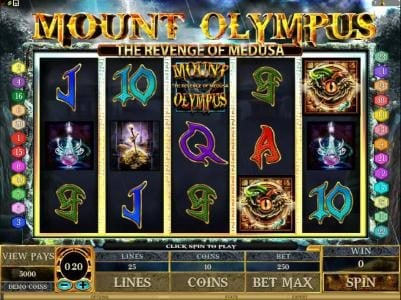 Play slots at Mr Play: Mr Play featuring the Video Slots Mount Olympus - The Revenge of Medusa with a maximum payout of $10,000