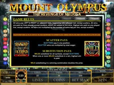 Vegas Country featuring the Video Slots Mount Olympus - The Revenge of Medusa with a maximum payout of $10,000