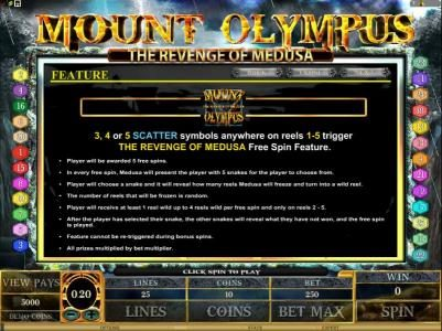 Spinrider featuring the Video Slots Mount Olympus - The Revenge of Medusa with a maximum payout of $10,000