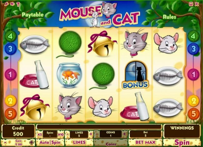 Play slots at betmaster: betmaster featuring the Video Slots Mouse and Cat with a maximum payout of $10,000
