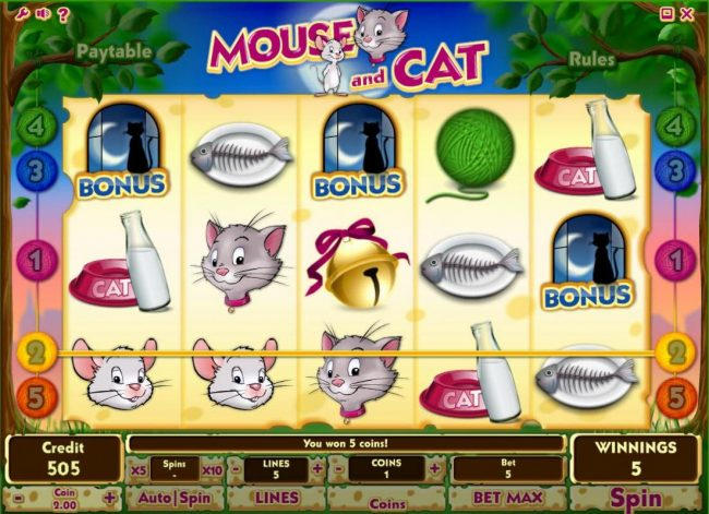 Joe Fortune featuring the Video Slots Mouse and Cat with a maximum payout of $10,000