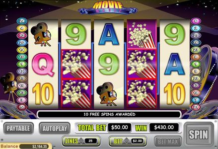 Liberty Slots featuring the Video Slots Movie Magic with a maximum payout of $50,000