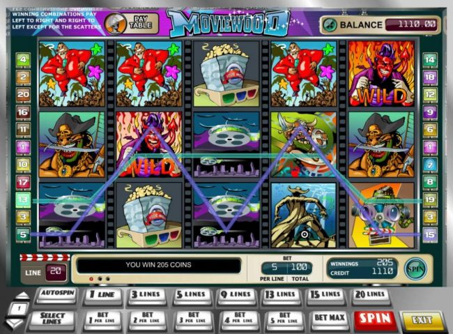 King Billy featuring the Video Slots Moviewood with a maximum payout of $25,000