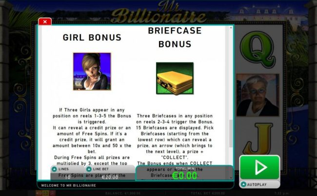 Girl Bonus is triggered when thee girls appear in any position on reels 1, 3 and 5. Briefcase Bonus is triggered when 3 briefcase symbols appear in any position on reels 2, 3 and 4.