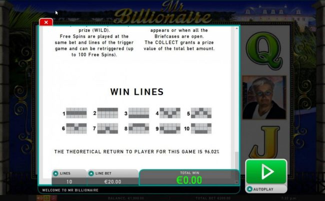 Payline Diagrams 1-10. The theoretical Return To Player is: 96.02%