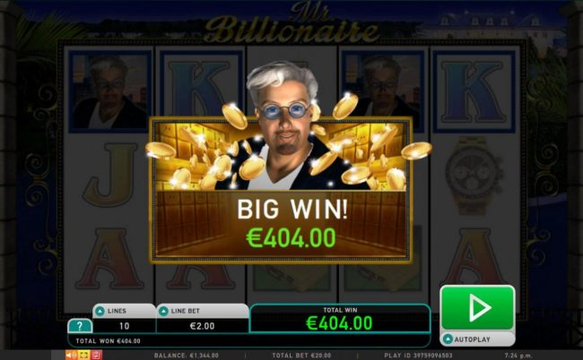 Multiple winning paylines triggers a 404.00 big win!